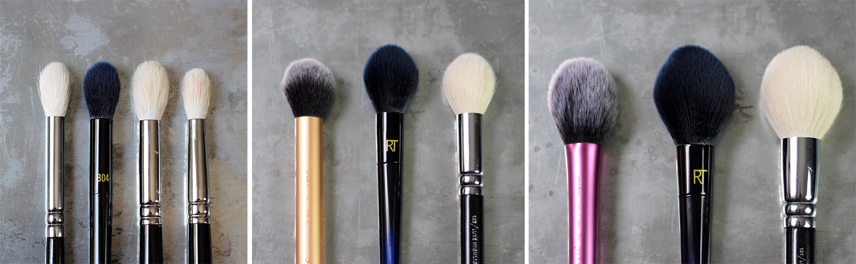 Zoeva 228, RT B04, Hakuhodo J5522, Hakuhodo J142 / RT Contour brush , RT 02 , Zoeva Highlight brush / RT Blush Brush, RT B01, ZOEVA Face Definer brush